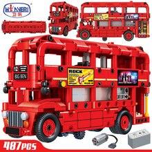 Технология Электрический двухслойный Лондонский автобус строительные блоки Legoingly City Technic машина создатель кирпичи развивающие игрушки для мальчиков