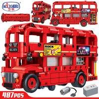 Technology Electric Double Layer London Bus Building Blocks Legoingly City Technic Car Creator Bricks Educational Toys for Boys