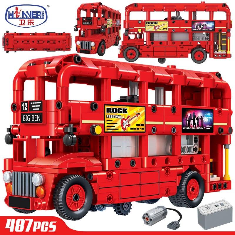 erbo eletrica dupla camada londres onibus blocos de construcao cidade tecnica carro criador tijolos brinquedos educativos