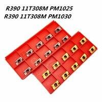 10PCS 카바이드 인서트 R390 11T308M PM1025 1030 고정밀 금속 터닝 선반 공구 R390 11 T308 CNC 부품 밀링 커터