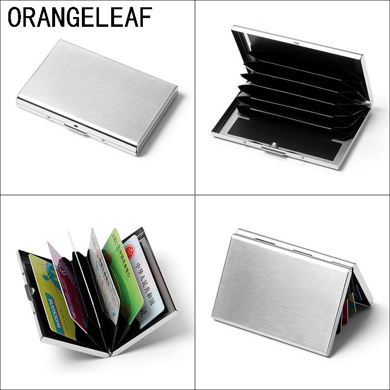 Silver New Stainless Steel Business ID Credit Card Holder Wallet Metal Box Cases