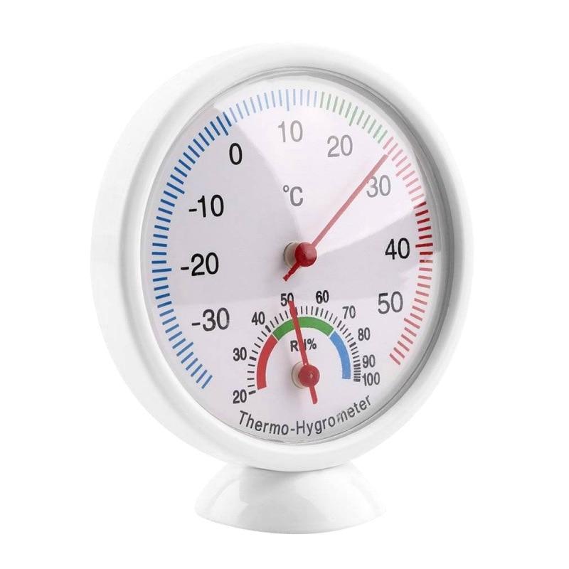 HWMini Measuring Indoor Analog Temperature Humidity Meter Tester Round Clock-shaped Thermometer Hygrometer Testing Tool Q1
