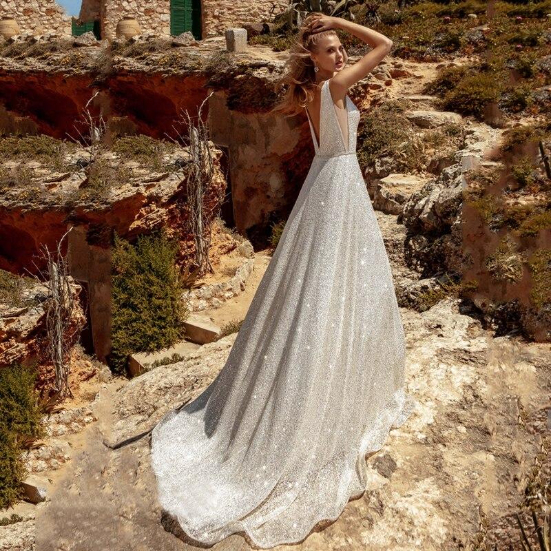 Verngo Beach Wedding Dress Backless Wedding Gowns Simple Bride Dress Sleeveless Boho Bedding Dress Vestidos De Novia 2019