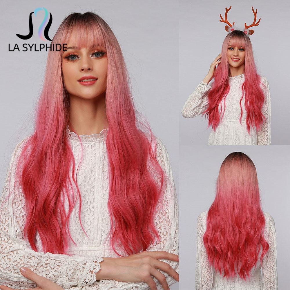 La Sylphide-Peluca de Cosplay de Halloween para mujer, postizo de pelo sintético rosa con raíces onduladas, color negro, fibra resistente al calor