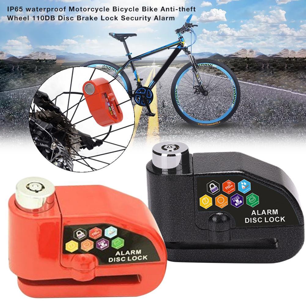 Motorcycle Electric Car Anti-Theft Safety Alarm Lock IP65 Waterproof 110 Decibel Alarm Rope Cloth Bag Bicycle Bike Wheel 110DB