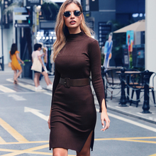 Vestido De Festa Sale 2019 Explosion Models Europe And The Female Autumn Tight Bag Hip High Collar Belt Cuff Bifurcation Dress contrast collar and cuff grid dress