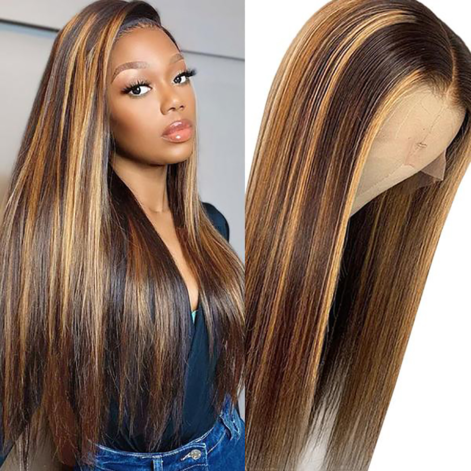 Brown Ombre Bone Straight Lace Front Wig  Virgin Hair  T Part Hd Highlight Lace Frontal  Wigs 2