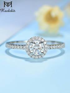 Gold-Ring Diamonds Engagement Wedding Bridal Kuololit White Women 10K for Round Gift