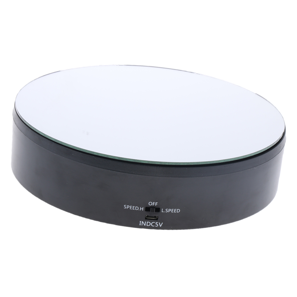 360° Rotating Display Stand Base Rotary Turntable Mirrored Top - Speed Adjustable - 4kg Load Bearing - Battery / USB Powered