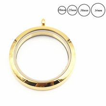 Locket-Pendant Living-Memory Glass 316l-Stainless-Steel Gold-Color Twist-Screw