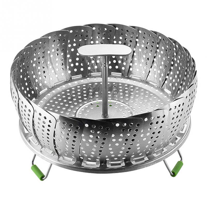 HLZS-11 Inch Stainless Steel Steaming Basket Folding Mesh Food Vegetable Pot Steamer Expandable Kitchen Tool Basket Cooker