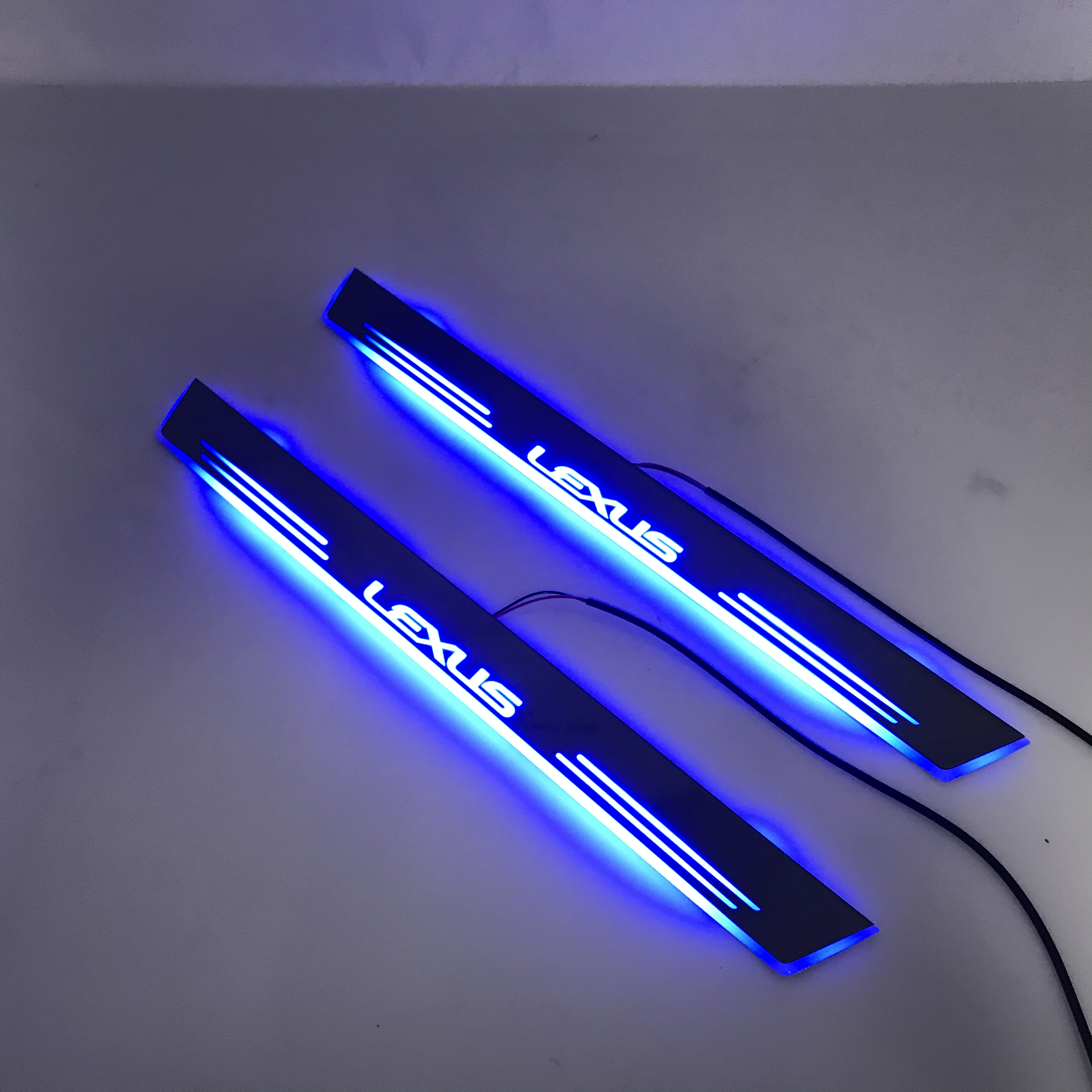 Acrylic Door Sill Plate Strip With Led Decorative Welcome Light Moving Door Scuff For Lexus