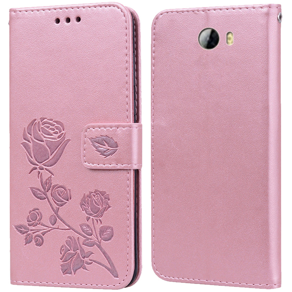 Luxury Leather Flip Book Case for Huawei Y7 2017 Y7 Prime 2018 Y7 Pro 2019 Rose Flower Wallet StandCase Phone Cover Bag