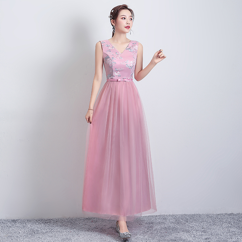 V-neck Sleeveless Bridesmaid Dress Vestido Largo Sirena Elegant Dress Women For Wedding Party Embroidery Long Prom Dress Sexy