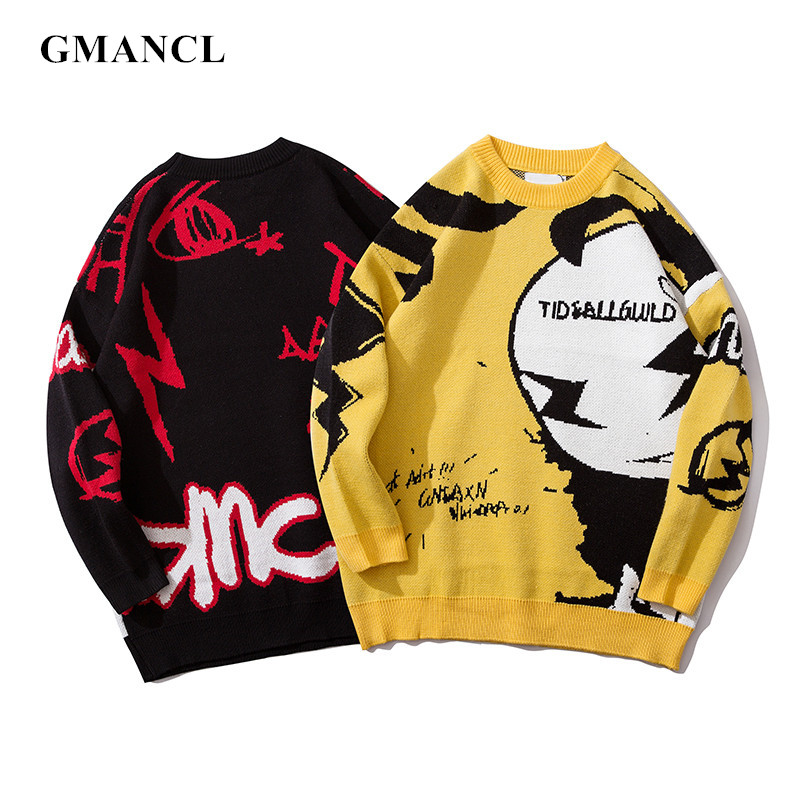 Autumn Winter Warm Wool Personality Printing Men Oversized Sweater Streetwear Hip Hop Loose O-Neck Casual Knitwear Pullover