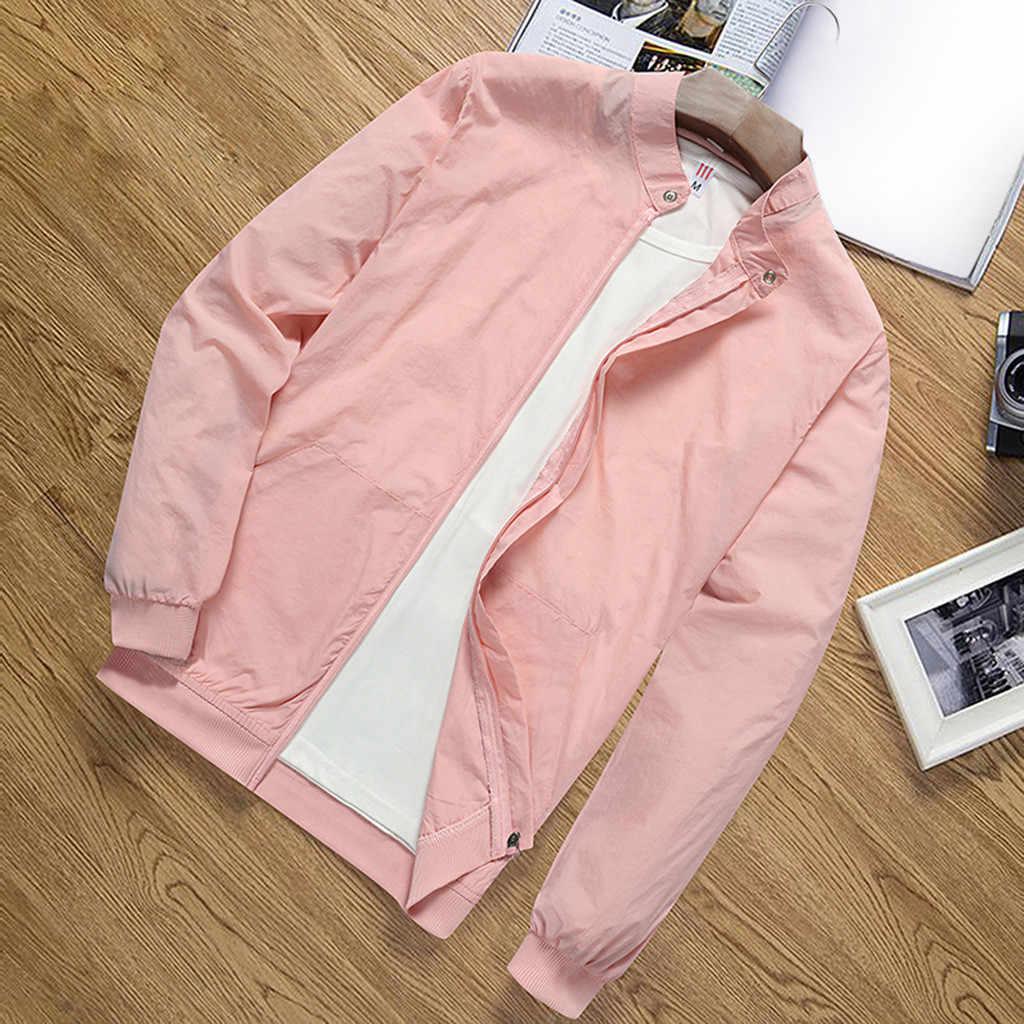 JAYCOSIN 男性のコート秋冬春のメンズ固体ジャケット UV 保護スキン服男性ポリエステルスタンド襟