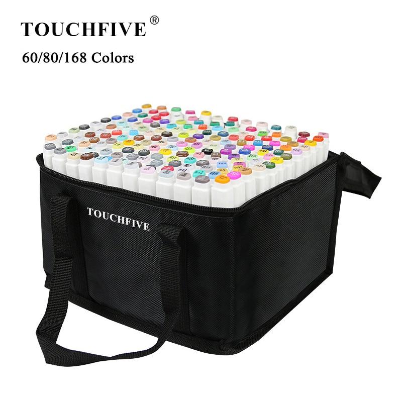 Набор маркеров TouchFIVE 60/80/168 цветов, маркеры для рисования манги, ручка на спиртовой основе, фломастеры для скетчинга, фетровые масляные двойн...