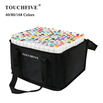 TouchFIVE 60/80/168 Colors Markers Set Manga Drawing Markers Pen Alcohol Based Sketch Felt-Tip Oily Twin Brush Pen Art Supplies 30 40 60 80 168 colors touchfive art markers set alcohol based ink sketch marker pen for artist drawing manga animation supplies