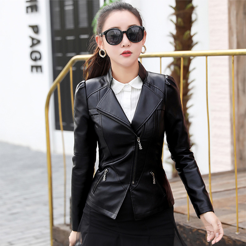 Leather   women short paragraph large size motorcycle   leather   jacket 2019 loose stand collar pu   leather   casual short coat