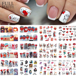 3D Valentine Red Stickers for Nails Romantic Umbrella Nails Decoration Love Heart Cartoon Design Manicure Decals CHBN1717-1728