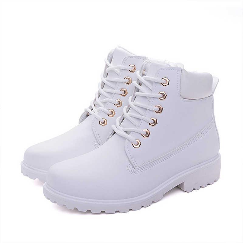 Yeni kış kadın ayak bileği kar botu deri kürk takozlar sıcak peluş kauçuk platformu Lace Up pembe bayan botları erkek kışlık botlar mujer