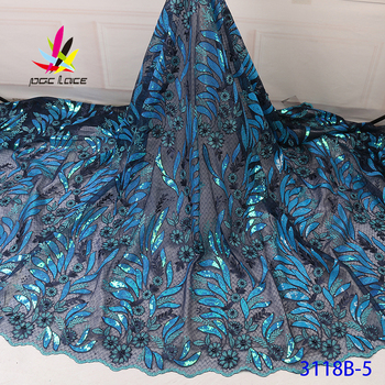 High Quality Sequin Tulle French Lace Fabric Blue Color Embroidered Leaves Flower Pattern African Nigerian Latest Design Latest