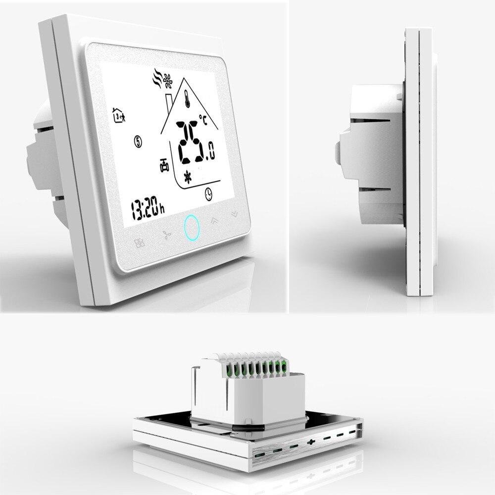 4 Pipe Thermostat Temperature Controller 110-240V Central Air Conditioner Thermostat For Home NTC Sensor LCD Screen Termostato