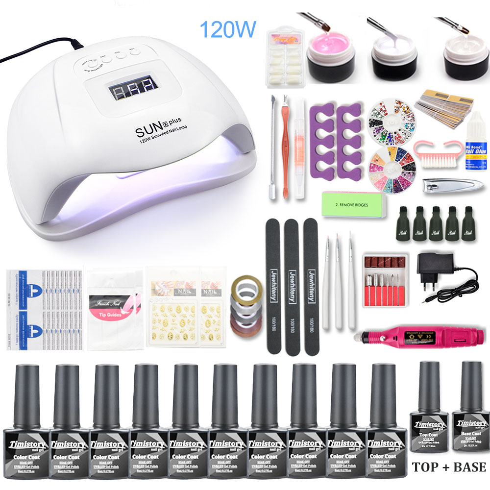 Nail Set 120W UV LED Lamp For Manicure 10pcs Gel Nail Polish Set Kit Soak Off Gel Varnish For Nail Art Set Dryer Machine Tools