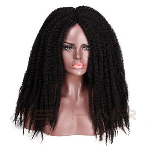 Image 4 - AISI HAIR Dreadlock Marley Braids Ombre Braiding Hair Wig Synthetic Afor Kinky Curly Wig Black Ombre Brown for Women/Men