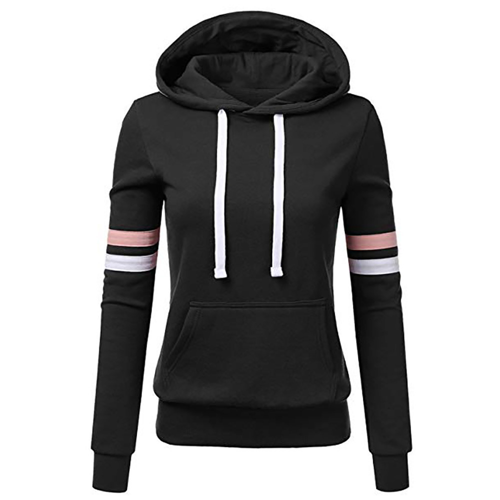 Women Stripe Hooded Sweatshirt Long Sleeve Blouse Pocket Pullover Tops Ladies Solid Color Hooded Sweatshirt vetement femme 2020