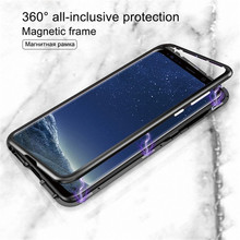 Magnetic cover For Samsung S10 case Adsorption Metal Single sided Tempered glass for samsung galaxy