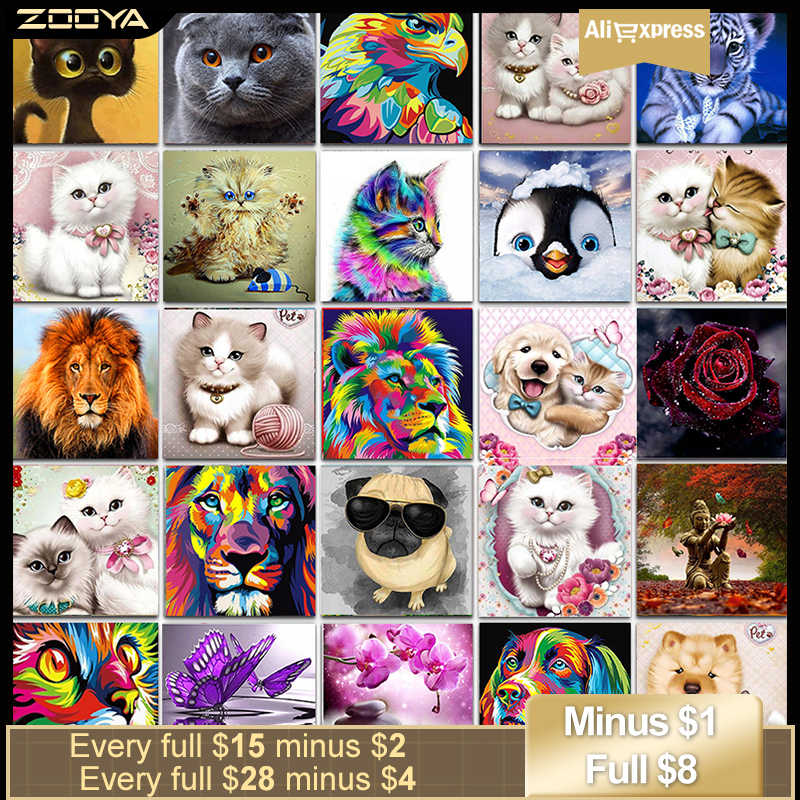 Zooya Animali Pittura Diamante Gatto Piazza Piena di Strass Immagine di Diamante Del Ricamo Cat Fai Da Te Diamante Mosaico Pieno Layout Qr02