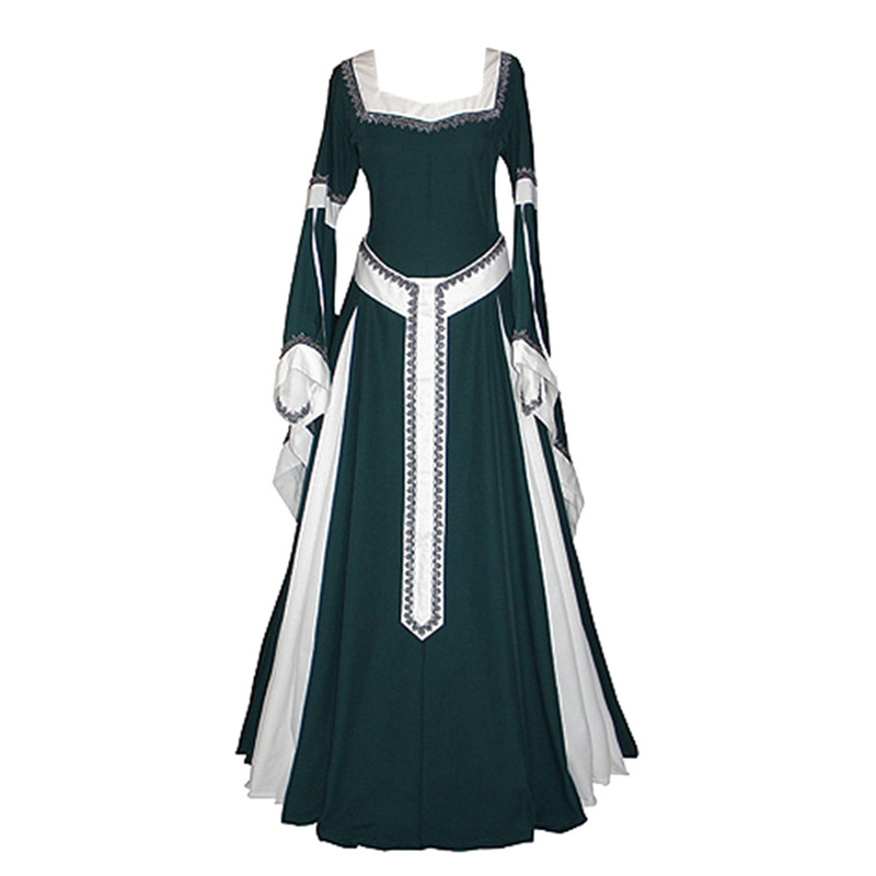 Retro Medieval Dress Cosplay Costume Square Collar Sleeve Long Dress With Belt For Woman Halloween Long Dresses Party Dresses