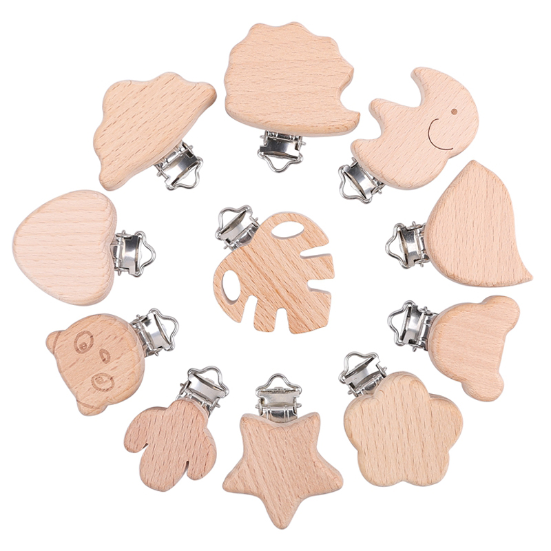 2pc Woode Pacifier Baby Accessories Wooden Wooden Animal Pacifier Metal Clips Holder Heart Pacifier Wooden Baby Teether