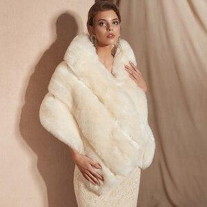 Image 2 - 2019 Women Bolero Bridal Shawl Faux Fur Wrap Bolero Wedding Cape Bridal Shawl Fur Cape 2018 Winter Ivory Bridal Cloak Bolero