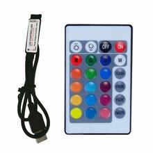 цена на USB 24 Key RGB LED Controller 5V IR Remote RGB LED Dimmer USB Interface 4 Pin Apply to 2835 5050 3528 RGB Led Strip Light