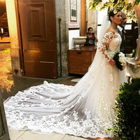 ( Buyer customize in 7 meters) Long Wedding Veil White, Ivory Lace Bridal Veil With Comb Wedding Accessories