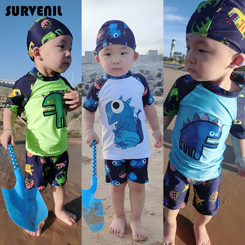 Boys Dino Rash Guard Swim Trunk Cap 3 Pc Swimwear Set