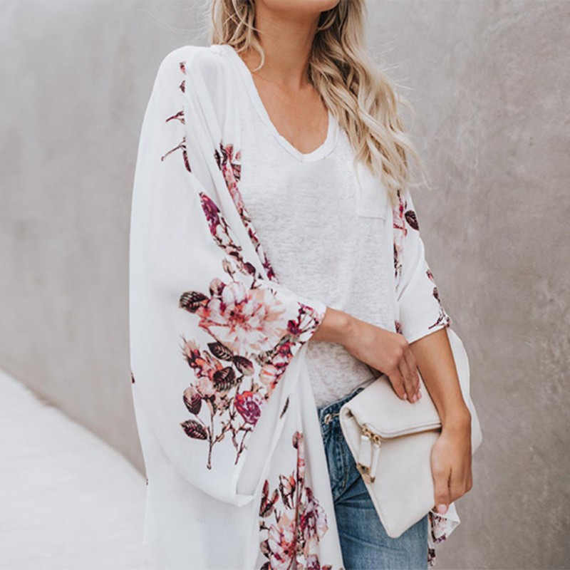 Women Casual Vintage Kimono Cardigan Ladies 2019 New Summer Long Crochet Chiffon Kimono Preto Loose Flora Printed Blouse Tops Hc