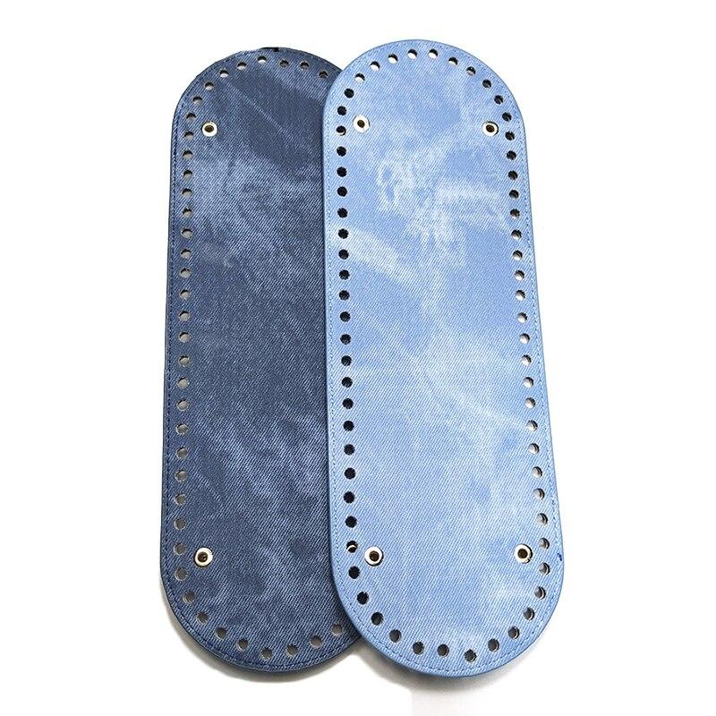 1PC 30*10cm Bag Bottom 64 Holes Shoulder Handbag Making DIY High Quality PU Leather Oval Bag Accessories 11 Colors Bag Bottoms