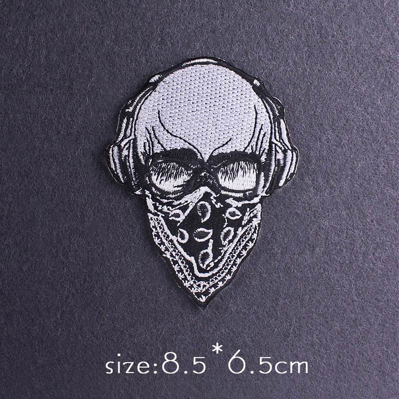 Skull Patch Zombie Bride Embroidered Patches For Clothing Iron On Patches Clothes Applique Stickers Punk Patch Sewing Supplies-5