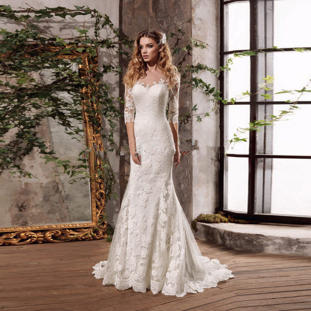 Vestidos De Noivas Illusion Backless Mermaid Bridal Dresses 2017 China Wedding Dresses Lace Vestido De Noiva Sereia Com Manga