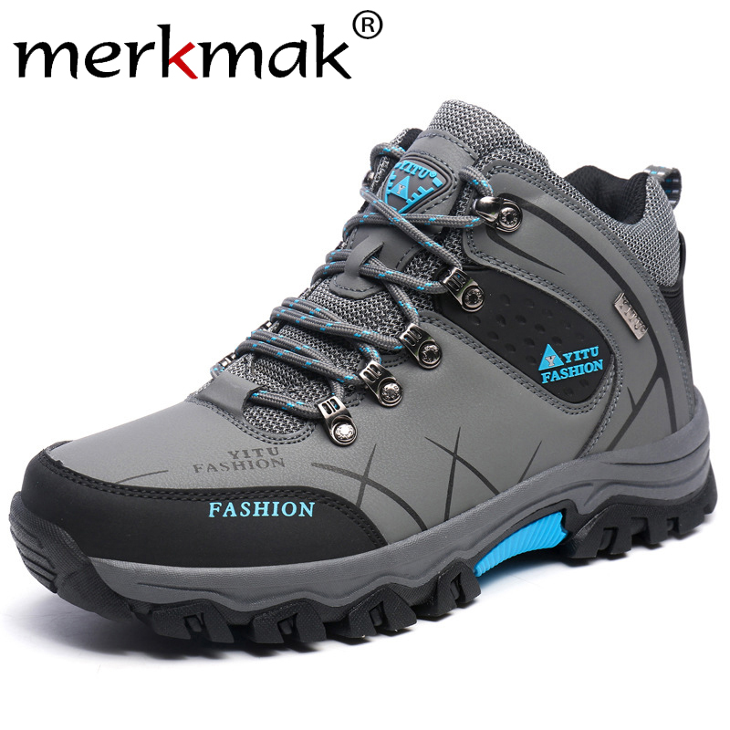 Merkmak Brand New Men Winter Snow Boots Warm Men High Quality Waterproof Sneakers Outdoor Male Hiking Boots Big Size Work Shoes