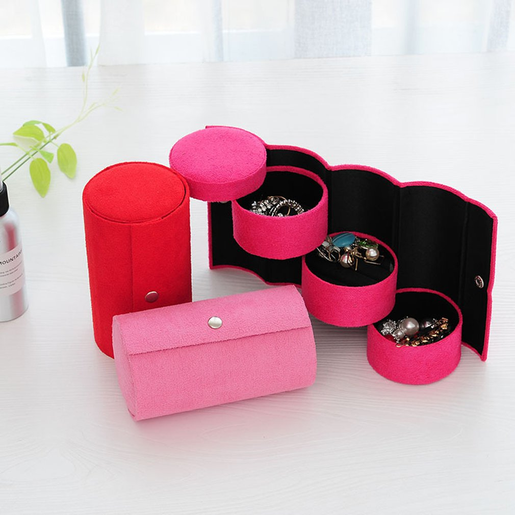 Multifunctional Fabric 3 Layers Jewelry Display Box Cylinder Shape Organizer Flannel Round Portable Travel Storage Case Creative