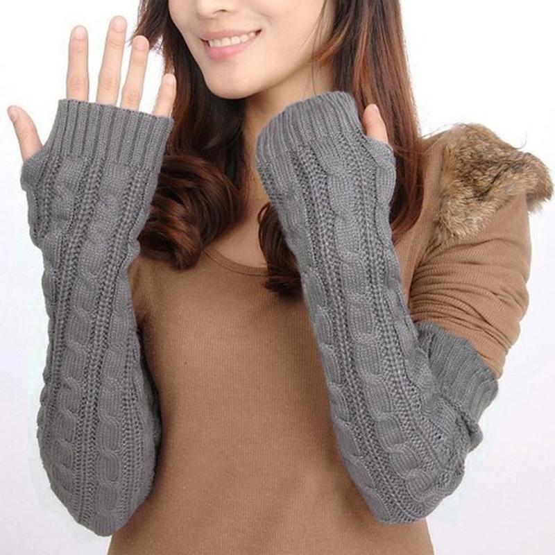 Litthing Women's Winter Warm Gloves Knit Long Buttons Openwork Leaf Lace Warm Bracers Fingerless Gloves Khaki Coffee Gray