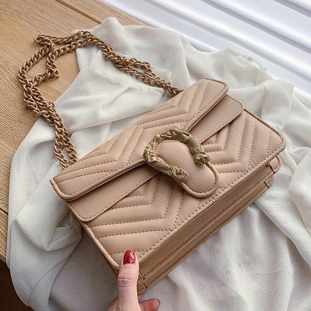 Bolso de marca de moda de color caramelo para Mujer, bandolera de cuero de PU suave de diseñador con cadena, Bolso de hombro tipo bandolera, Bolso de mano para Mujer