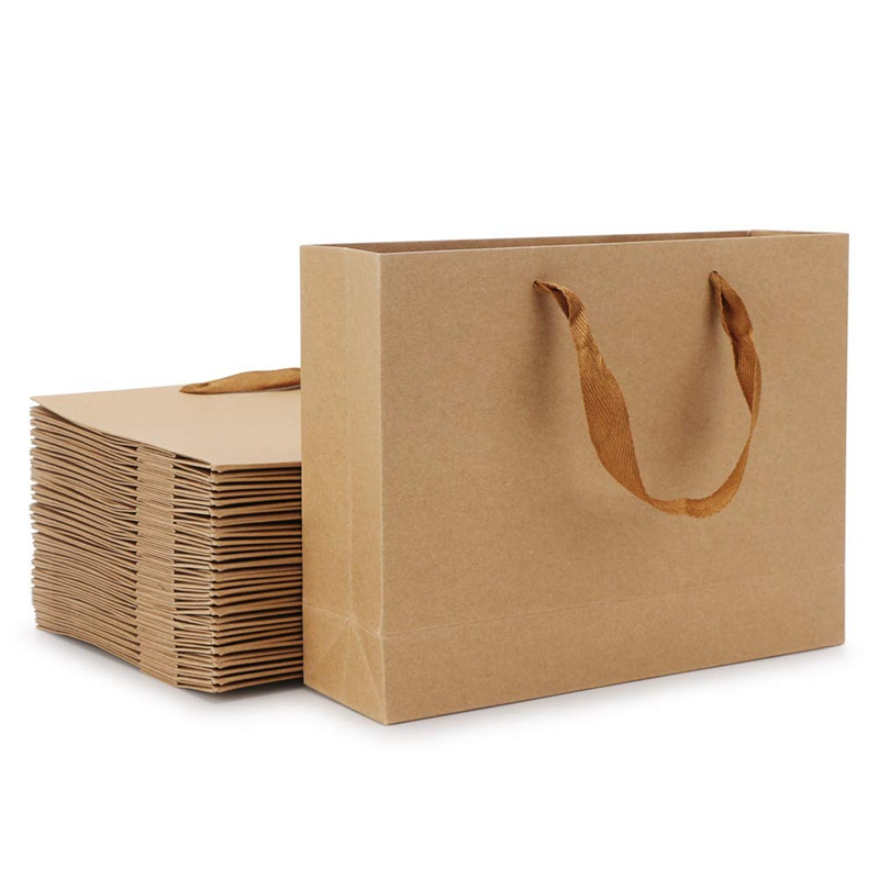 Promotion! Kraft Paper Bags, 8.3 Inch X 3.1 Inch X 10.6 Inch 20Pcs Brown Kraft Paper Gift Bags With Soft Cloth Handles, Bulk Sho