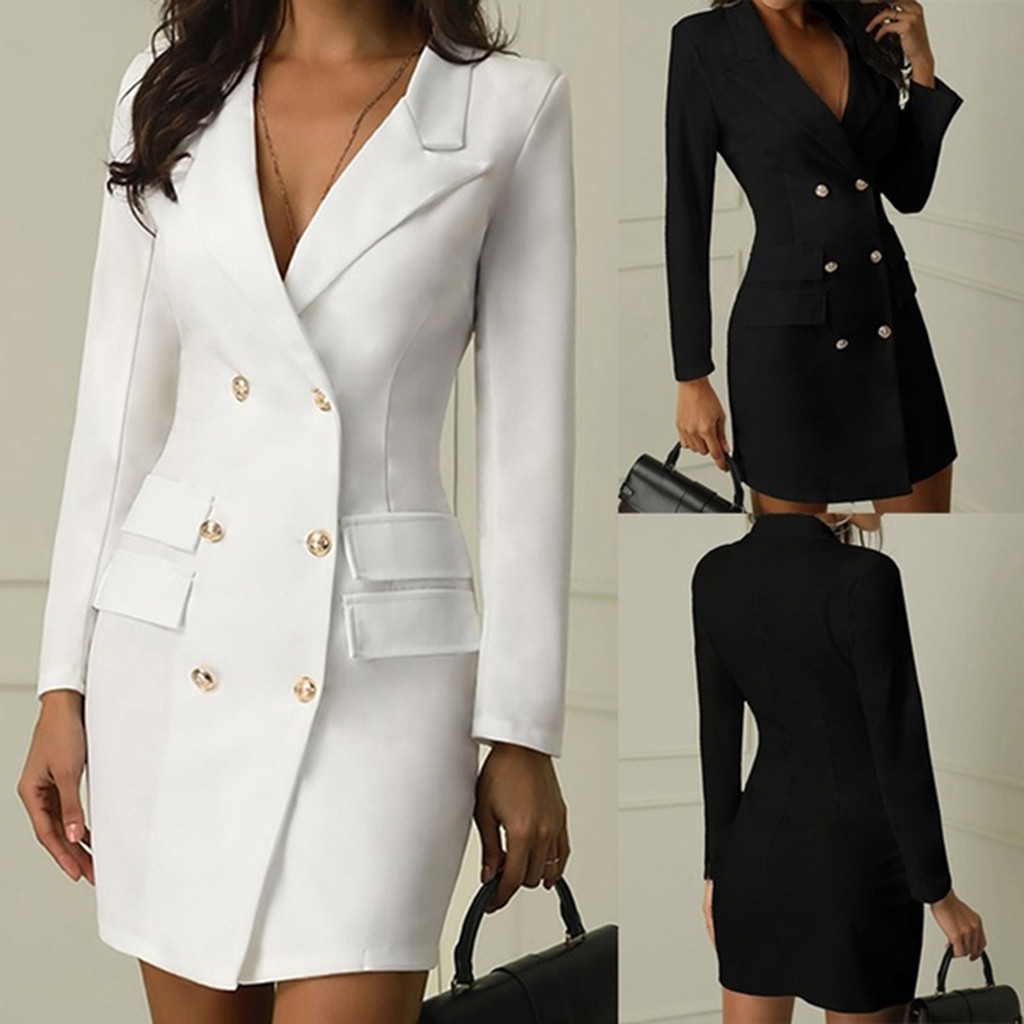 Fashion Office Ladies Suit Women Blazer Dress Double Breasted Button Front Military Style Long Sleeve Dress Free Ship платье Z4
