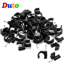 цена на 100PCS PE Plastic 7mm Circle Cable Clip C Shaped High Carbon Steel Nails Cable clips Wire Wall holder 1/4 6mm Tube support