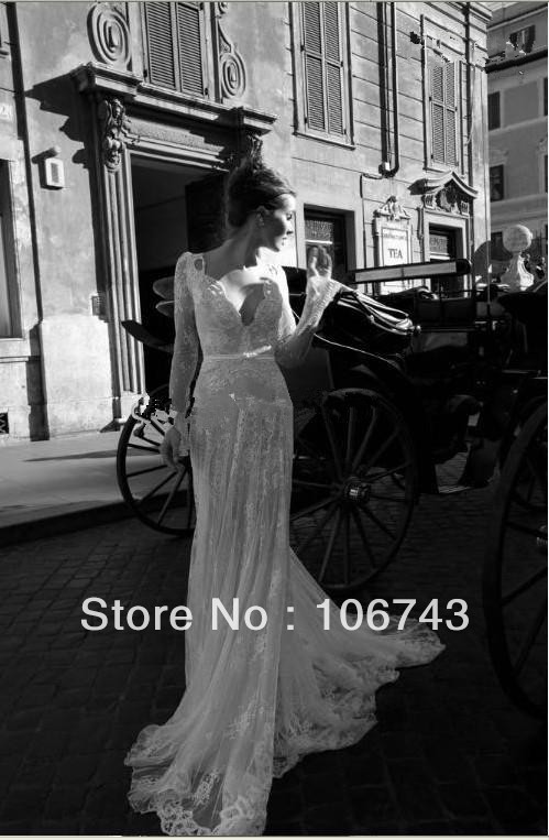 Dresses Free Shipping 2020 Debutante Custom White/ Ivory Long Sleeve Lace Sexy Lace V-Neck Backless Wedding Dresses